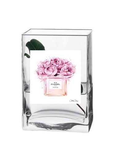 Lyn Home & Decor Çiçekli Parfüm Şişesi Vazo Renkli